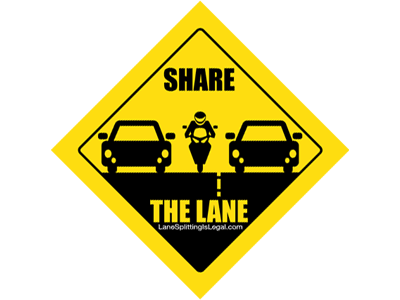 Lane Splitting Road Sign Sticker - Share The Lane